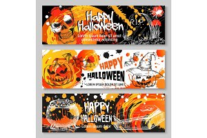 Halloween vector sketch banners trick or treat