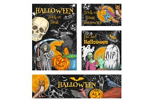 Halloween witch monsters vector sketch posters