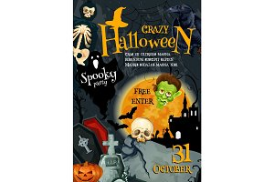 Halloween witch monsters vector party poster