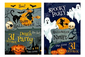 Halloween party poster of pumpkin, ghost and which