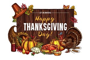 Thanksgiving turkey harvest vector sketch greeting