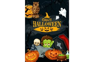 Halloween night party vector holiday poster