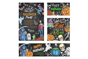 Happy Halloween sketch banner on chalkboard