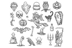 Halloween witch monsters vector sketch icons set