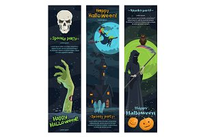 Halloween horror night banner, spooky party design