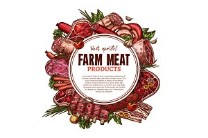 Vector sketch farm fresh meat butchery poster