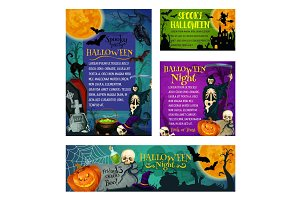 Halloween holiday party trick treat vector posters