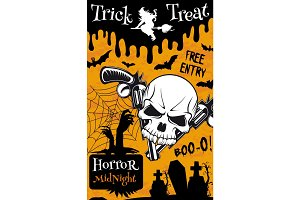 Halloween trick or treat night party poster design