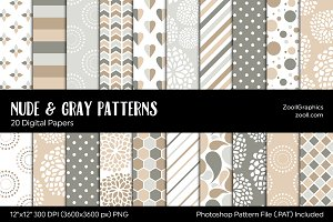 Nude & Gray/Grey Digital Papers