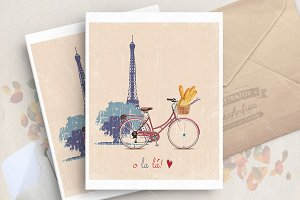 Paris and bicycle travel poster
