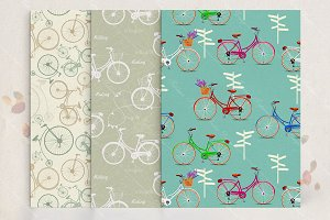 Seamless patterns set with bicycle