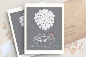 Wedding invitation with bicycle