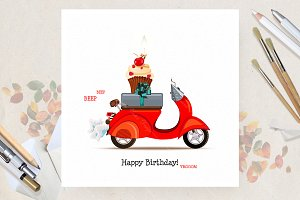 Birthday greeting card with bike