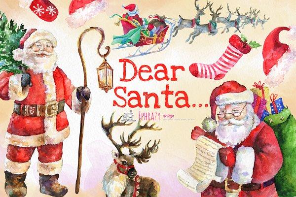 christmas clipart santa clipart custom designed illustrations creative market christmas clipart santa clipart