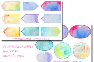 Watercolor Labels and Gift Tags