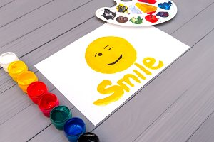 Painted smile on sheet