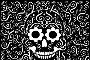 Skull icon ornament black and white