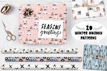 Holiday patterns set + lettering