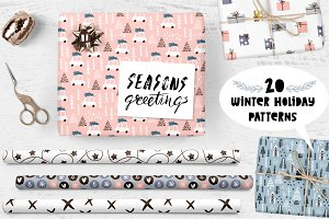Holiday patterns set + lettering