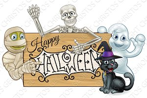 Happy Halloween Cartoon Monsters Sign Background