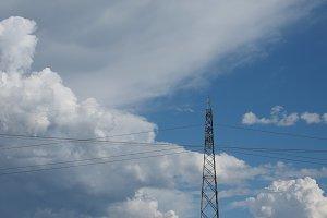 transmission line over blue sky