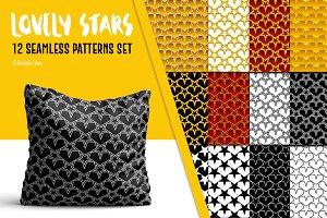 12 Stars Seamless Patterns Set
