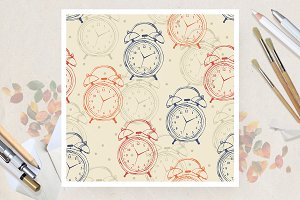 Seamless pattern with alarm clocks