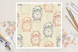 Seamless pattern with alarm clocks