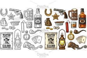Set with Wild West and casino symbols. Vector vintage engraving black illustration