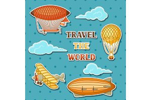 Set of retro air transport. Vintage aerostat airship, blimp and plain in cloudy sky