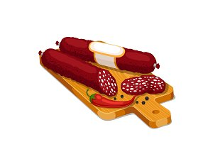 Salami smoked sausage slices with chili and pepper on wooden cutting board