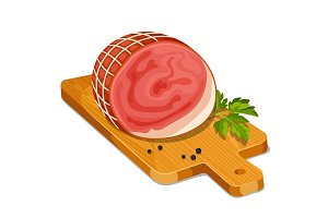 Ham with parsley leaf and peper on wooden cutting board