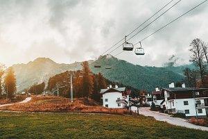 Resort with cableway, autumn