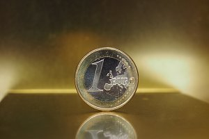 1 euro coin, European Union over gold background