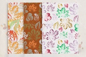 Seamless patterns set with leaves
