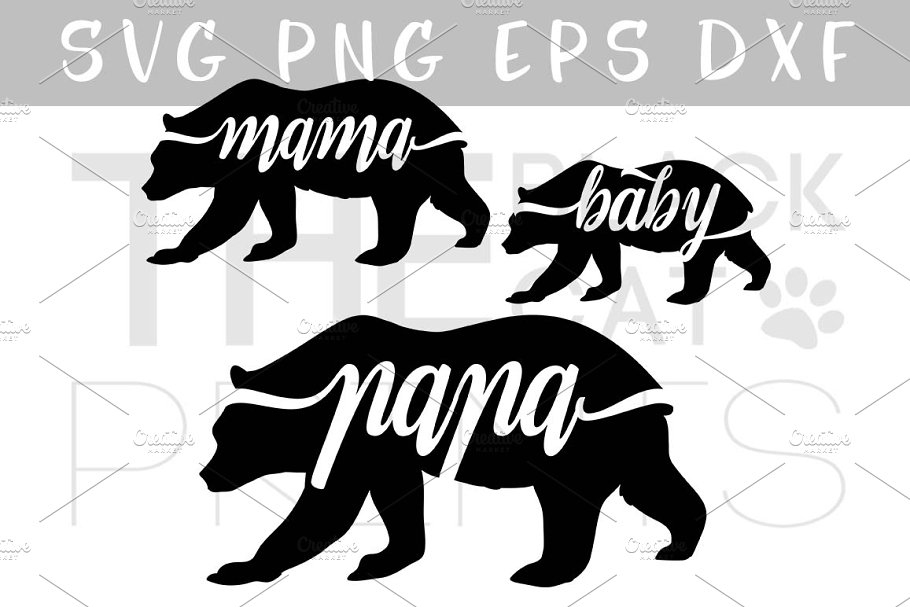 e2efdcf3 Bear family SVG DXF EPS PNG ~ Illustrations ~ Creative Market