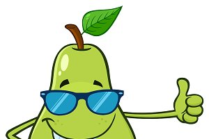 Green Pear Giving A Thumb Up