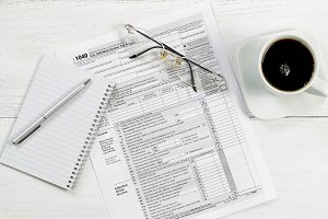 Tax Forms on Office Desktop