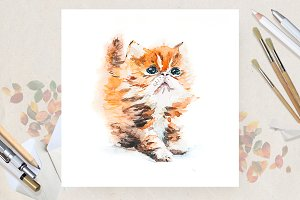 Watercolor with cat