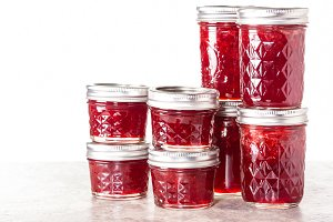 Jars of strawberry jam or jelly
