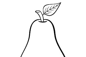 Black And White Outlined Pear Fruit