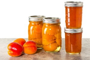 Fresh apricots and preserves