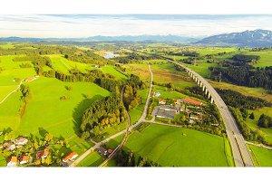 Aerial View Of Highway Bridge