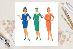 Stewardess. Vector poster