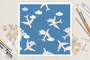 Seamless pattern with airplane