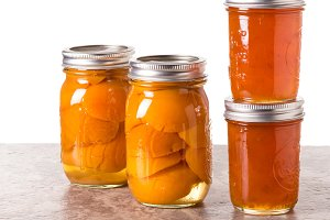 Preserved apricots and jars