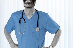 Senior doctor in scrubs with skull