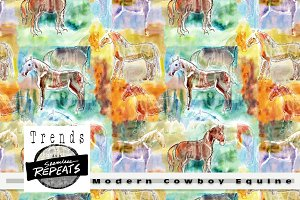 Seamless Repeat Modern Cowboy Equine