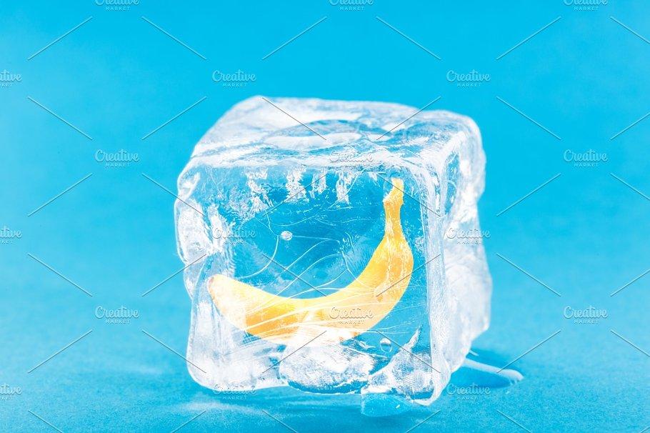 Banana Frozen Inside Ice Cube