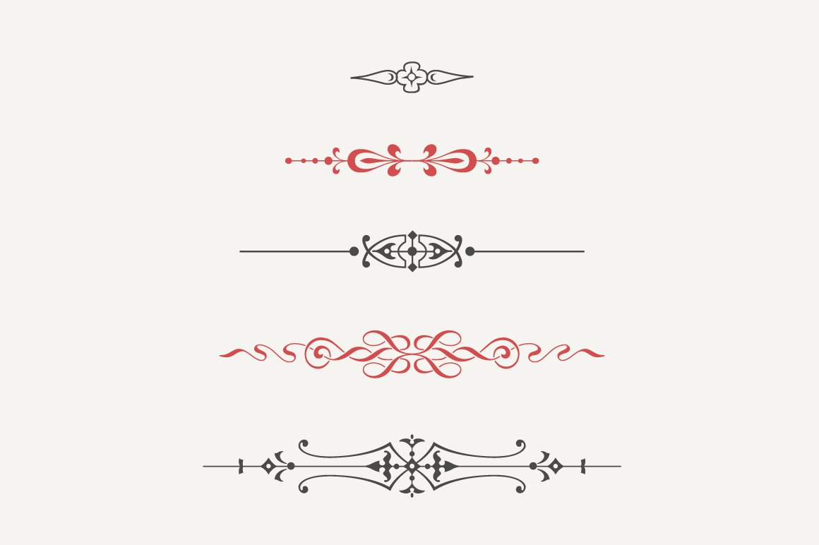 One Line Text Art 9 11 : Vintage text dividers n° illustrations creative market